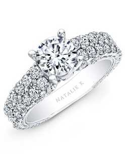 This glamorous diamond engagement semi mount features two rows of pave-set brilliant round white diamonds that sit on an 18k white gold shank enhanced with a bezel set diamond bridge. Total carat weight: 1.80cts. Center stone not included. Can be made to fit any size or shape center stone. 