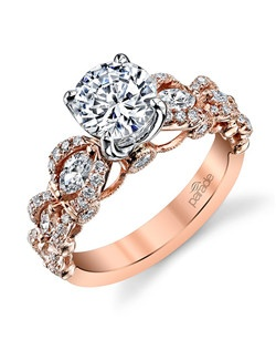 Beauty is in the details of this romantic rose gold stunner! Waves of marquise & round-cut diamonds float upon delicately scalloped gold.(0.84 ct tw) Available in platinum, 18K white, 18K yellow, or 18K rose gold. All Parade Design styles can be customized upon request.