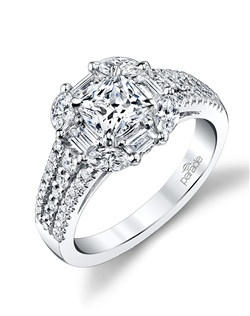 lternating baguette & marquise-shaped diamonds create a unique halo for a brilliant cushion-cut stone. A wide band of diamonds makes this ring dazzle & delight! (0.86 ct tw) Available in platinum, 18K white, 18K yellow, or 18K rose gold. All Parade Design styles can be customized upon request.