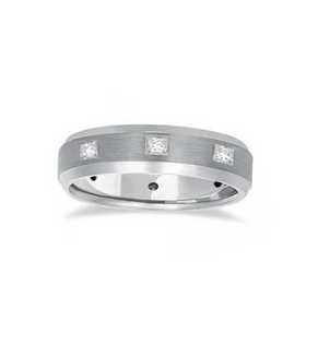 This unique men's designer wedding band features eight princess-cut (square) sparkling diamonds and a satin finish, making the ring look elegant and stylish. The product is only available in 14 karat white gold.
