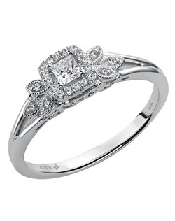 Ladies 14kt White Gold  1/4 ctw Engagement Ring.  Prong Set with a Princess Cut Center, and Round Side stones.