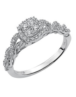 Ladies 14kt White Gold  1/3 ctw Engagement Ring.  Illusion Prong Set with a Round Cut Center, and Round Side stones.