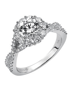 Ladies 14kt White Gold  1.00 ctw Engagement Ring.  Prong Set with a Round Cut Center, and Round Side stones.