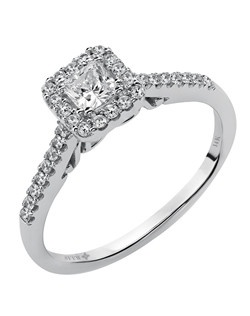 Ladies 14kt White Gold  1/2 ctw Engagement Ring.  Prong Set with a Princess Cut Center, and Round Side stones.