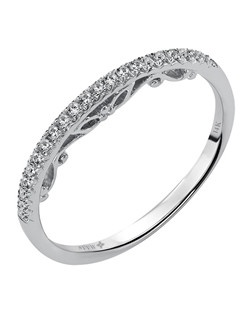 Ladies 14kt White Gold  1/10  ctw Wedding Ring.  Prong Set with a Round stones