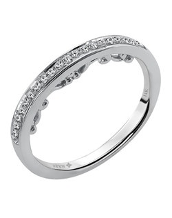 Ladies 14kt White Gold  1/7  ctw Wedding Ring.  Prong Set with a Round stones