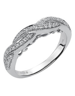 Ladies 14kt White Gold  1/3  ctw Knot Design Wedding Ring.  Prong Set with a Round stones