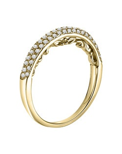 Ladies 14kt Yellow Gold  1/4  ctw  Wedding Ring.  Prong Set with a Round stones