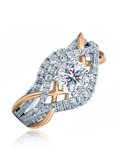 With a twist of polish gold and diamonds, this ring yells. Fun, Modern and Breath-taking. This Sage ring is shown with white gold and diamonds and pink polish gold.  Available in any size center and metal ( center not included ). 92 DIA 0.85 CT