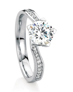 Innovative 5-prong solitaire named after the Scottish town of Aviemore. Elegant tapered twist shank set with pave diamonds flows up into 5-prong setting. 18K white gold; 0.12tcw diamonds included.