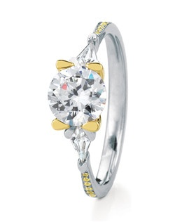 Beautiful engagement ring named after the Scottish island of Gairsay, featuring 2 stunning kite-shape accent diamonds in unique petal-shaped prongs