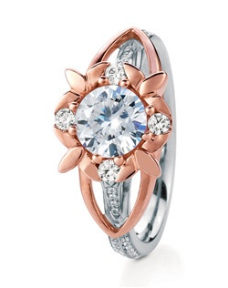 Round brilliant-cut solitaire named after the Scottish Wildflower Primrose. Accented with four round diamonds and delicate pave details, this flower's petal-shaped prongs flow seamlessly down the shank.