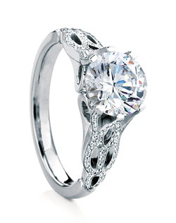 Round brilliant-cut solitaire named after the Scottish island of Rona. Distinctive six-prong setting with delicate pierced shank and beautiful micro-pave detailing