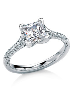 Princess-cut solitaire named after the Scottish island of Tahay. Perfectly balanced contemporary design, with a sleek setting that elegantly showcases the gemstone. Also available with pave diamond-accented shank.
