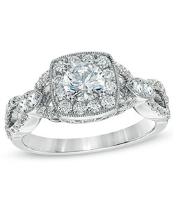 Expertly cut to be visually larger, the Celebration Grand™ is a diamond that shines bigger and bolder than one of the same carat weight. This Celebration Grand™ 1-1/4 ct. t.w. diamond vintage-style engagement ring set in 14K white gold features a master-cut 1/2 ct. certified diamond center stone with a color ranking of H - I and clarity ranking of I1. This ring arrives with a certificate that includes a photo and description of the diamond, which guarantees quality and can be used for insurance purposes.