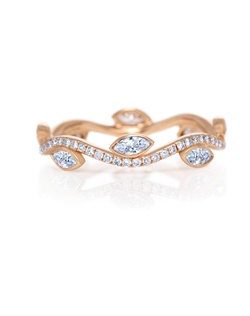 Inspired by Aphrodite's love for her Adonis, this unique band is carefully crafted in pink gold and bezel set with marquise diamonds and pavé round brilliant diamonds. Total carat weight for a standard size is approximately 0.56. Size range from 46 to 57.