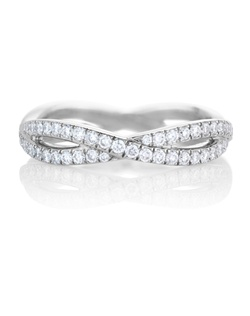 The infinity design represents a path of never-ending possibilities. Two eternal, interweaving paths of pavé diamonds around the white gold band symbolise the everlasting beauty of diamonds themselves. Total carat weight is 0.72cts.