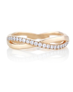 The infinity design represents a path of never-ending possibilities. An eternal, interweaving path of pave diamonds around the pink gold band symbolise the everlasting beauty of diamonds themselves. Total carat weight is 0.36cts.
