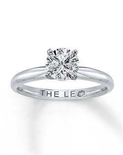 This Leo Diamond® Artisan ring thrills with an independently certified 1 carat round diamond beautifully set in 14K white gold with platinum prongs. Every Leo Diamond® Artisan solitaire engagement ring is guaranteed to score three very high ratings on the GemEx Light Performance Report. Diamond Total Carat Weight may range from .95 - 1.11 carats.