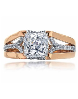 """This sleek Sage ring with its cushion top makes this a stylish and attractive ring for """"the girl on the go.""""  The ring is shown with diamonds on white gold center shank with pink gold polish split shank.  Available in any size center and metal.  (center not included)
