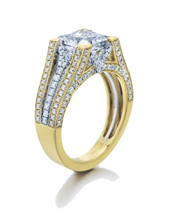 """""Confidence"""" is what this ring speaks of.  This Sage ring shows its cushion top sitting """"straight and bold"""" on top of diamonds on yellow gold and white gold split shanks.  Available in any size center and metal.  (center not included)
