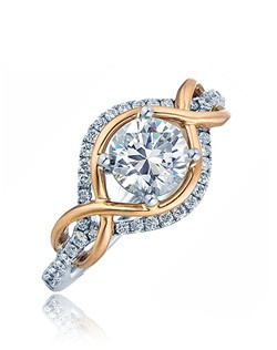 Displaying grace in form this ring makes a statement for the stylish women.  This Sage ring is shown with a polish pink gold twist top and diamonds set in white gold.  Available in any size center and metal.  (Center not included).  42 DIA 0.31 CT