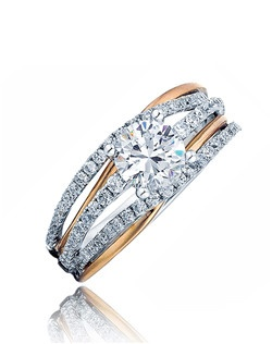 Three strings of pave diamonds sitting on white gold bands holds the round center stone with two polish pink gold split bands underneath this stunningly beautiful ring.  Available in any size center and metal ( center not included ). 78 DIA 0.61 CT