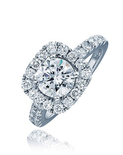 The round center stone sits on a white gold halo cushion top with pave set diamonds.  Diamonds also line up the white gold shank of this ring.  This Sage ring is a perfect symbol of your enduring love.  Available in any size center and metal ( center not included ).  26 DIA 0.91 CT