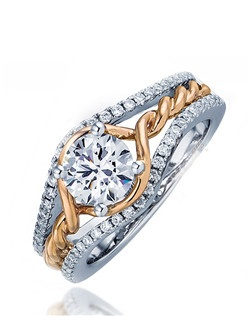 Strut the way to her heart with this Sage ring.  Twisting pink gold bands flows down the middle with white gold pave set diamond split shank that holds the round center stone.  Available in any size center and metal.  (center not included)  58 DIA 0.32 CT