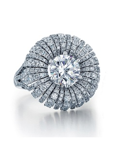 "The ""Blossom"" is for the woman with an affection to create her own style.  This Sage ring is shown with diamonds set in white gold.  Available in any size center and metal.  (Center not included).  222 DIA 2.09 CT"