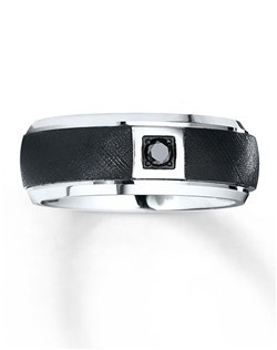 This men's contemporary wedding band blends the strength of white tungsten carbide and the bold contrast of a 1/10 carat round black diamond. The ring is Supreme-Fit™ for maximum comfort. Tungsten carbide is made from a patented formula and is prized for its strength and durability. Black diamonds are treated to permanently create the intense black color.