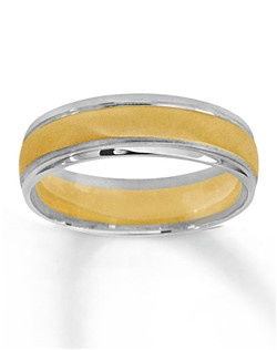 This handsome 6mm wedding band for him is crafted in 10K yellow and white gold for bold style. The look of this ring is completed with high-polish edges and a satin center.
