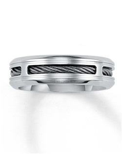 Polished stainless steel reveals a steel cable center in this distinctive men's wedding band. The fine jewelry ring is 7mm in width.