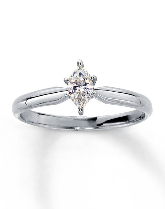 Kay Jewelers Diamond Solitaire Ring 1 4 ct Marquise 14K White Gold