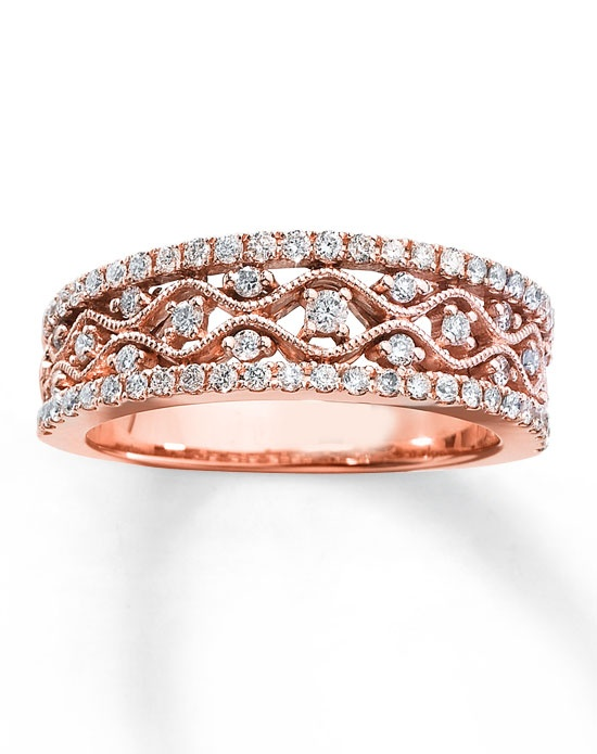 Diamond Anniversary Band 10K Rose Gold Round 1 2ct tw