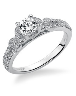 14kt White Gold 3/4  Ladies Engagement Ring. With Round Prong  Set diamonds