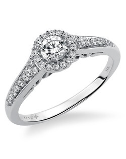 14kt White Gold 3/8 ctw  Ladies Engagement Ring. With Round Prong  Set diamonds