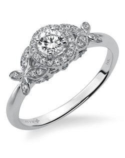 14kt White Gold 1 1/3 Ladies Engagement Ring. With Round Prong  Set diamonds