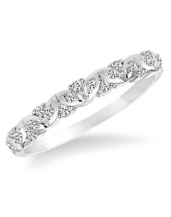 14kt White Gold 1/7 ctw Diamond Wedding Band with Round Prong set Diamonds