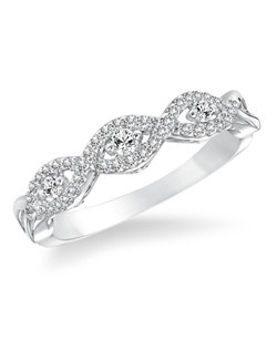 14kt White Gold 1/4 ctw Diamond Wedding Band with Round Prong set Diamonds