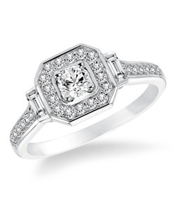 14kt White Gold 1/2ctw  Ladies Engagement Ring. With Round and Baugette Prong  Set diamonds