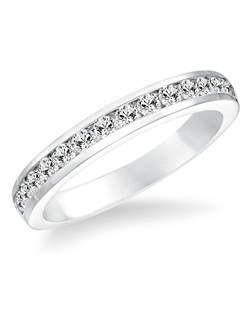 14kt White Gold 1/2 ctw Diamond Wedding Band with Round Prong set Diamonds