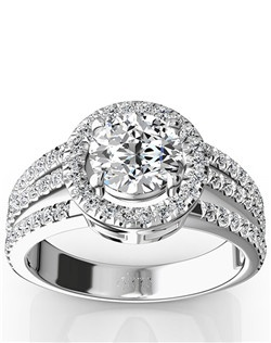Delightful memories will take the first step with this three way split halo engagement ring. This micro pave set engagement ring features 0.77 ct. tw. side diamonds to bring all the brilliance your choice of center stone can. This ring is available in 14k, 18k, white gold, yellow gold, rose gold, platinum and palladium.