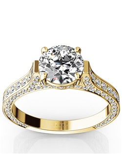Shimmering engagement ring will dazzle the night and she wont be able to take her eyes away from this beautiful design. Your choice of center stone will be showcased with 0.83 ct. tw. side diamonds. This ring is available in 14k, 18k, white gold, yellow gold, rose gold, platinum and palladium.