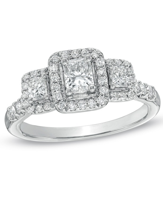 Zales Non Branded 3 Stone Fancy Cuts 1 CT T W Radiant Cut Diamond 3 Stone