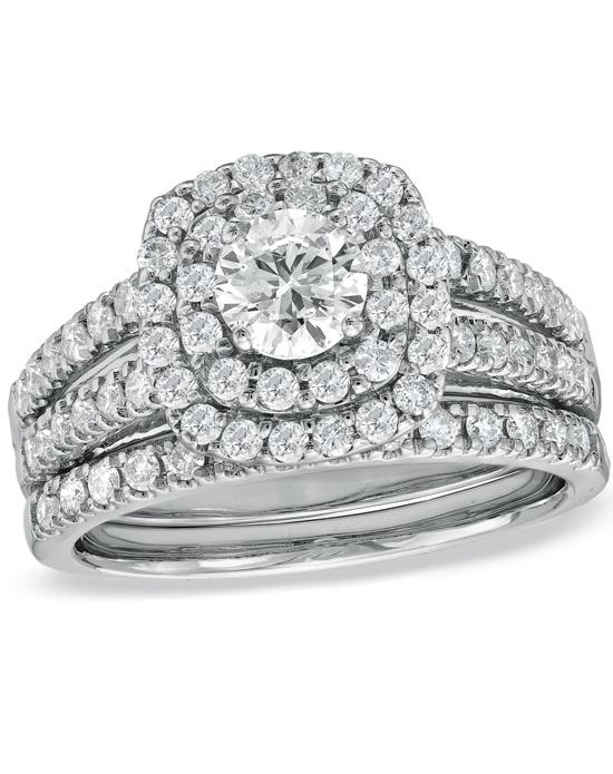 Zales 1 1 2 CT T W Diamond Double Frame Bridal Set in 14K White Gold