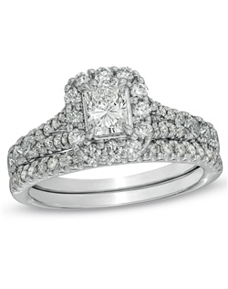 This 1-1/2 ct. t.w. diamond bridal set in 14K white gold features a 1/2 ct. certified radiant-cut diamond center stone engagement ring with a color ranking of H - I and clarity ranking of I1. The matching wedding band features round diamonds in a 4-prong setting. This ring arrives with a certificate that includes a photo and a description of the diamonds, which guarantees quality and can be used for insurance purposes.