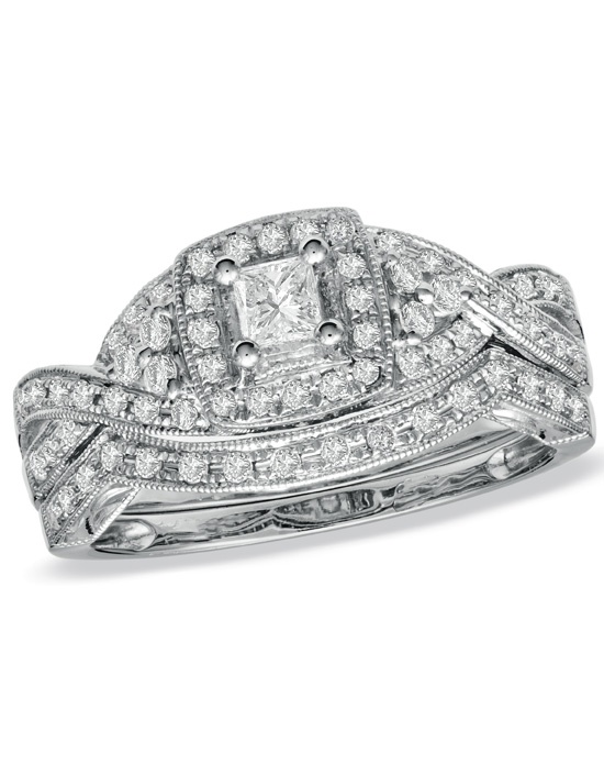 Zales 1 2 CT T W Princess Cut Diamond Twist Bridal Set in 14K White Gold 19