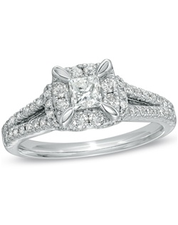 Illuminate your love with this exceptional vintage styled diamond engagement ring. Beautifully crafted in 14K white gold, this heirloom-inspired design showcases a brilliant 1/3 ct. princess-cut diamond center stone. A squared border of shimmering round diamonds wraps this center stone in a sparkling embrace, while additional round diamonds line the split shank. An amazing look for an amazing woman, this ring captivates with 1 ct. t.w. of diamonds and a bright polished shine.