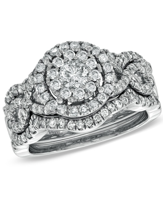 Zales 1 1 4 CT T W Diamond Cluster Bridal Set in 14K White Gold 1